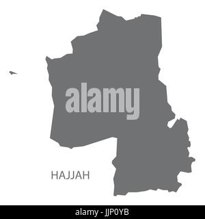 Hajjah Yemen governorate map grey illustration silhouette shape - Stock Photo