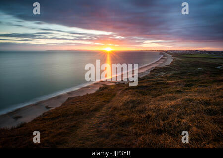The view from the top  of Hengistbury Head in Dorset. - Stock Photo