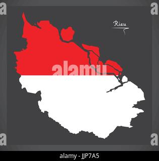 Riau Indonesia map with Indonesian national flag illustration - Stock Photo