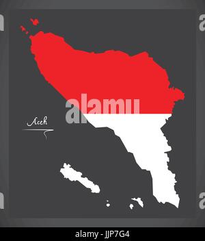 Aceh Indonesia map with Indonesian national flag illustration - Stock Photo