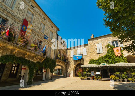 Place des Arcades in this bastide town named: one of the most beautiful  villages in France. Monflanquin; Lot-et - Stock Photo