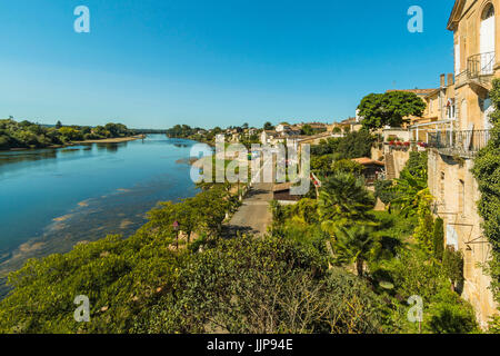 View north west along the River Lot bank at this large town with a historic bastide centre.  Villeneuve-sur-Lot; - Stock Photo