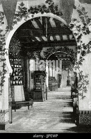 Arturo Melida Alinari (1849-1902). Spanish architect and painter. Engraving by Rico depicting the main floor and - Stock Photo