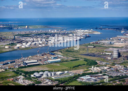 Mouth of the River Tees from the air, Teeside, North East England, Uk - Stock Photo