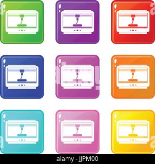 3D printer printing cup set 9 - Stock Photo
