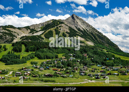 Village of Mount Crested Butte and Mount Crested Butte (12,162 ft.), near Crested Butte, Colorado USA - Stock Photo