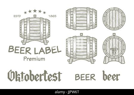 Set of vintage wooden barrels in different foreshortening. Monochrome style. Isolated on white back ground vector - Stock Photo