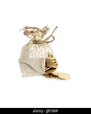 Business concept. Hole-ridden burlap sack with spilled coins