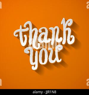 Thank You Hand lettering Greeting Card. Typographical Vector Background. Handmade calligraphy. Easy paste to any - Stock Photo