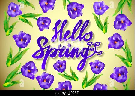Hand drawn spring inspirational quote - hello spring season of love. Pen and ink calligraphy. Brush painted purple - Stock Photo
