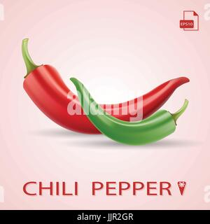 Set Of Two Chili Peppers Red And Green. - Stock Photo