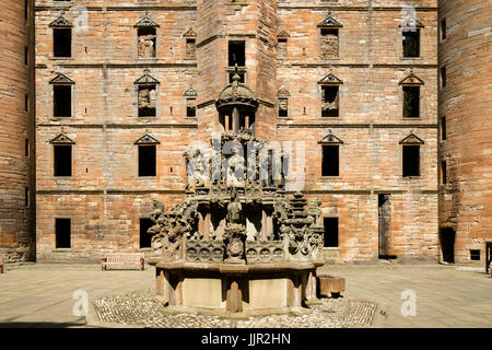 Fountain at Linlithgow Palace in Scotland, United Kingdom - Stock Photo