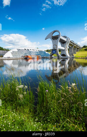 View of Falkirk Wheel ship lift connecting Forth and Clyde Canal with Union Canal in Scotland, United Kingdom - Stock Photo