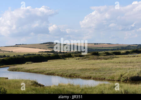 The Cuckmere river meanders through the South Downs.  Cuckmere Haven, Sussex, UK. - Stock Photo