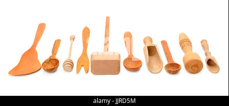 Wooden kitchen utensils isolated on white background - Stock Photo
