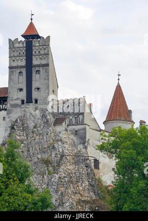 Dracula's Castle (Bran Castle), legendar residence of Vlad Tepes, built on a huge rock. - Stock Photo