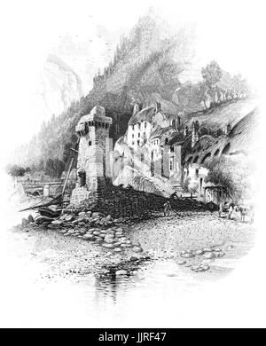 1870: A view of the steep village streets behind the harbour and Rhenish tower on the quay. It was  built by General - Stock Photo