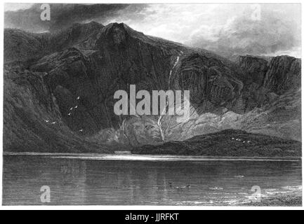 1870: Llyn Idwal is a small lake that lies within Cwm Idwal in the Glyderau mountains of Snowdonia, Gwynd, North - Stock Photo