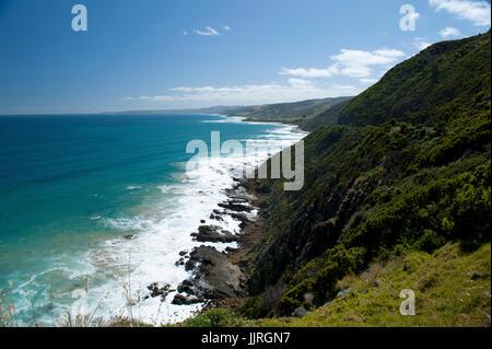 General view of Great Ocean Road coastline, Victoria, Australia - Stock Photo