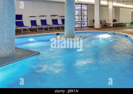 RESORT LA RESERVE, S. CROCE, CARAMANICO TERME, ABRUZZI, ITALY - November 22, 2014: Thermal waters indoor swimming - Stock Photo