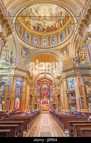 TURIN, ITALY - MARCH 15, 2017:  The nave of neo-baroque church Basilica Maria Ausiliatrice. - Stock Photo