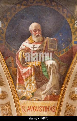 TURIN, ITALY - MARCH 15, 2017:  The fresco of St. Augustine doctor of the church in cupola of church Basilica Maria - Stock Photo