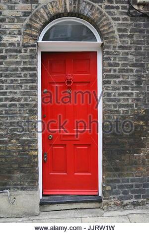 Victorian Red Front Door - Stock Photo