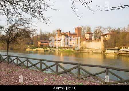 Turin - The panorama of Borgo Medievale castle. - Stock Photo