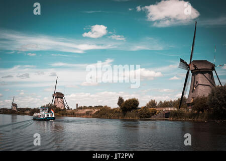 kinderdijk landscape with the typical 19 windmills - Stock Photo