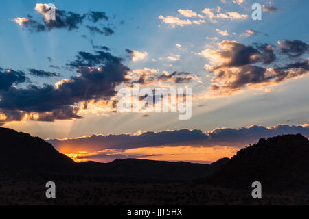 Sunset in the Namib Desert, one of the world's oldest deserts. Namibia, Africa - Stock Photo