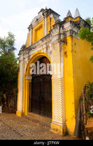 Chapel viacrucis stations in street of the steps of La Antigua Guatemala. Antique door in antigua Guatemala. - Stock Photo