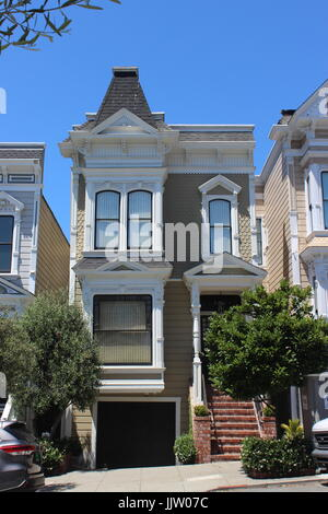 Stick-style House, built 1889-90, Japantown, Lower Pacific Heights, Upper Fillmore, San Francisco, California - Stock Photo
