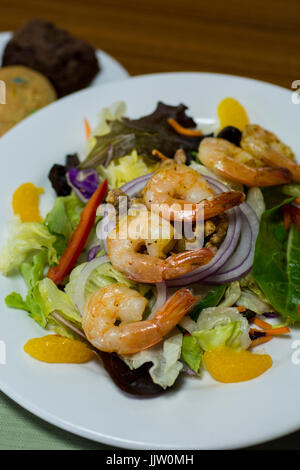 Lunch, Mandarin orange shrimp salad with candied walnuts.