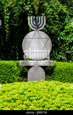 Dachau concentration camp Jewish memorial, Munich, Bavaria, Germany - Stock Photo