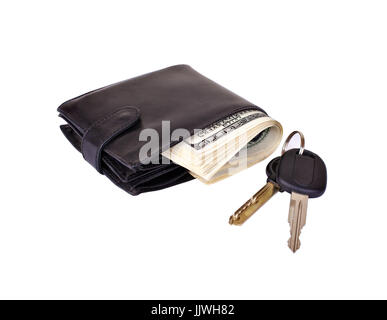 Black purse stuffed with paper money and car keys isolated on white background - Stock Photo