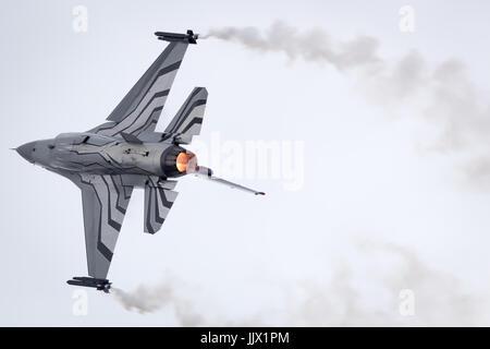 Belgian Air Force Lockheed Martin General Dynamics F-16 Fighting Falcon performing its Aerobatic Display at Fairford International Air Tattoo RIAT 2017