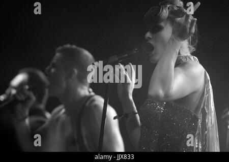 (L-R) Jake Shears Ana Matronic Scissor Sisters perform 2011 Coachella Music Festival March 16,2011 Indio. - Stock Photo