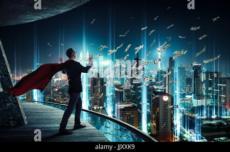 Businessman like superhero have a good skill to earn money , success and fortune concept . - Stock Photo