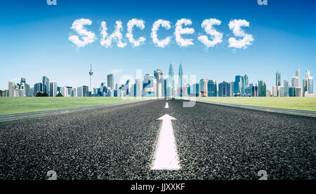 Concept of follow the right way to success road . - Stock Photo
