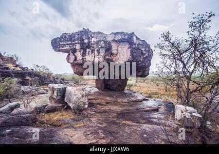 An ancient Jabiru Dreaming rock shelter in Northern Territory, Australia - Stock Photo