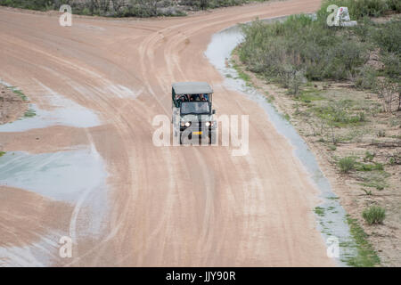 A sports vehicle filled with passengers drives on dirt roads through Etosha National Park, located in Namibia, Africa. - Stock Photo