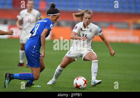 Germany's Linda Dallmann (R) and Barbara Bonansea from Italy vie for the ball during the women's European Soccer - Stock Photo