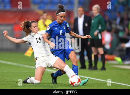 Germany's Sara Daebritz (L) and Barbara Bonansea from Italy vie for the ball during the women's European Soccer - Stock Photo