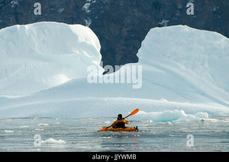 Kayaking in the Arctic - Greenland - Stock Photo