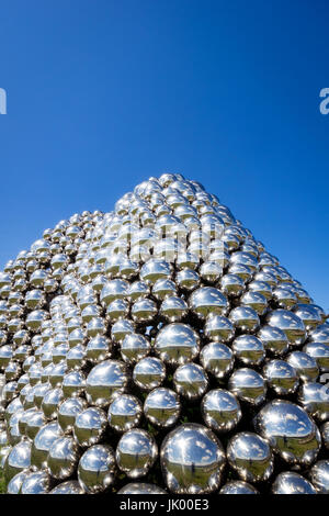 A view of the public sculpture of nearly 1,000 stainless steel spheres known as Talus Dome in Edmonton, Alberta, - Stock Photo