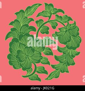 This is a traditionally Chinese pattern with flowers and leafs. This is suitable for home decoration and plants - Stock Photo