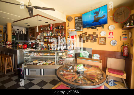 a cafe and restaurant in the town of Aljezur in the Sierra de Monchique at the Algarve of Portugal in Europe. - Stock Photo