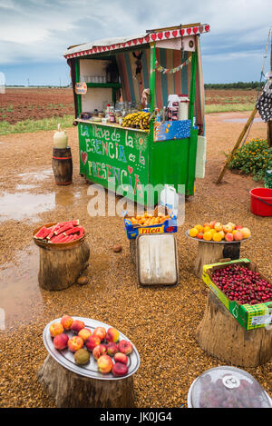 donation hut with fresh food and dring on the way Camoni de santiago, Near of Leon, Spain, Europe. - Stock Photo