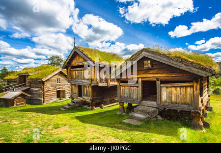Old traditional Norwegian houses. Geilo, Norway. - Stock Photo