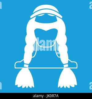 American indian icon white - Stock Photo